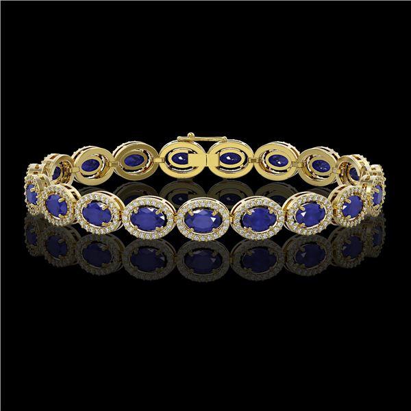 15.2 ctw Sapphire & Diamond Micro Pave Halo Bracelet 10k Yellow Gold - REF-244M2G