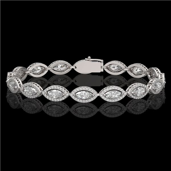 10.61 ctw Marquise Cut Diamond Micro Pave Bracelet 18K White Gold - REF-1459X6A