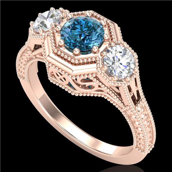 1.05 ctw Intense Blue Diamond Art Deco 3 Stone Ring 18k Rose Gold - REF-161N8F