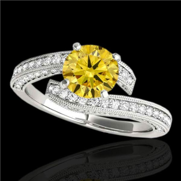 1.75 ctw Certified SI Intense Yellow Diamond Bypass Ring 10k White Gold - REF-211K4Y