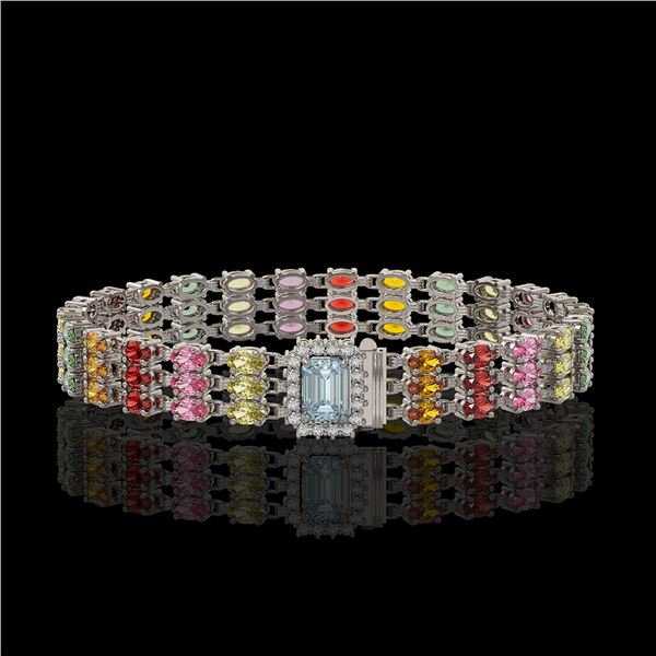 29.17 ctw Sapphire & Diamond Bracelet 14K White Gold - REF-318N2F