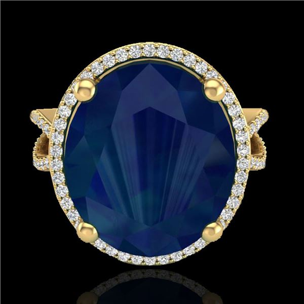 12 ctw Sapphire & Micro Pave VS/SI Diamond Ring 18k Yellow Gold - REF-143Y6X