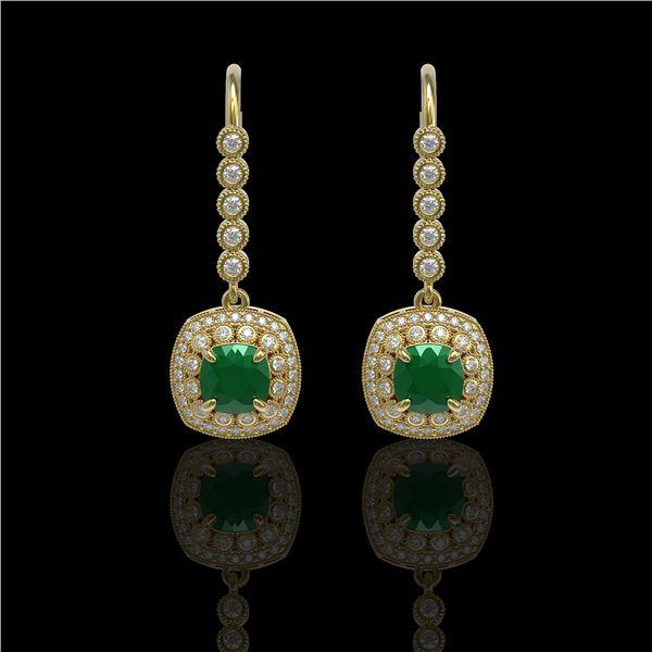 5.1 ctw Certified Emerald & Diamond Victorian Earrings 14K Yellow Gold - REF-172G8W