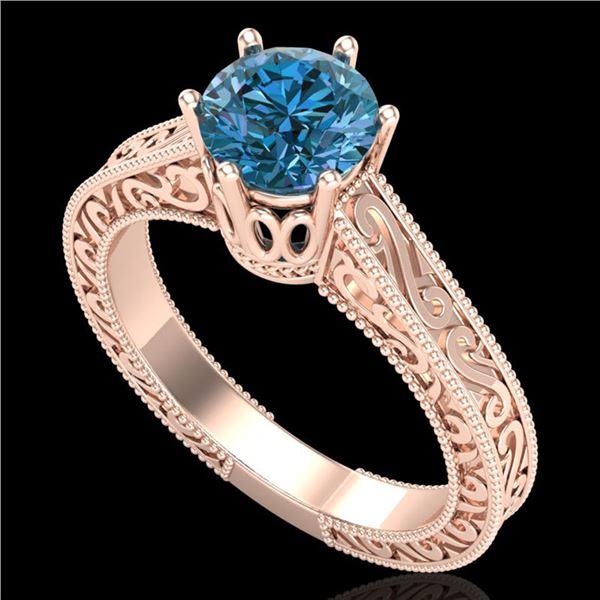 1 ctw Intense Blue Diamond Engagment Art Deco Ring 18k Rose Gold - REF-200H2R