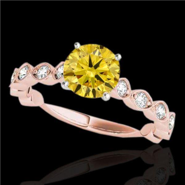 1.75 ctw Certified SI/I Fancy Intense Yellow Diamond Ring 10k Rose Gold - REF-245N5F