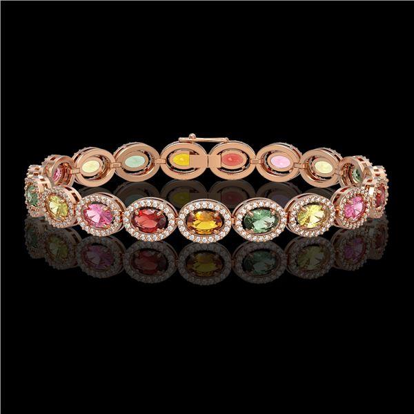 14.25 ctw Multi Color Sapphire & Diamond Micro Pave Bracelet 10k Rose Gold - REF-304H5R