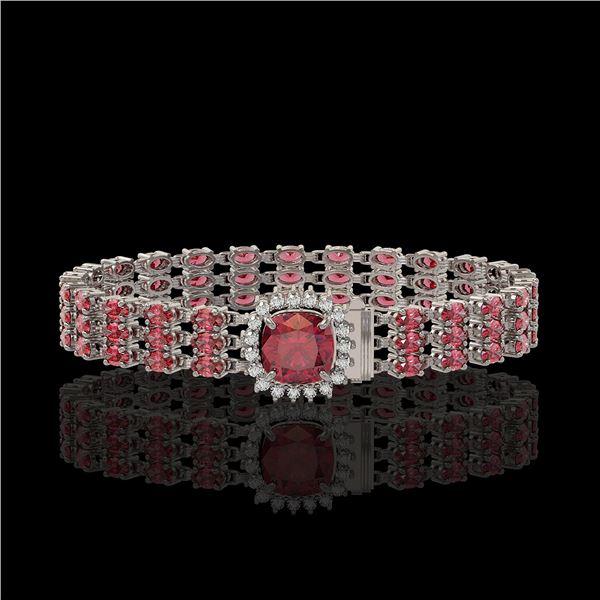 28.56 ctw Tourmaline & Diamond Bracelet 14K White Gold - REF-414G2W