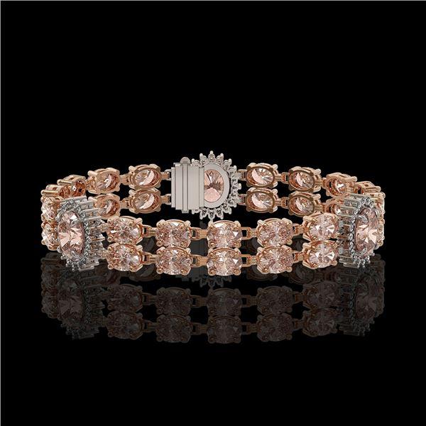 17.3 ctw Morganite & Diamond Bracelet 14K Rose Gold - REF-302M2G