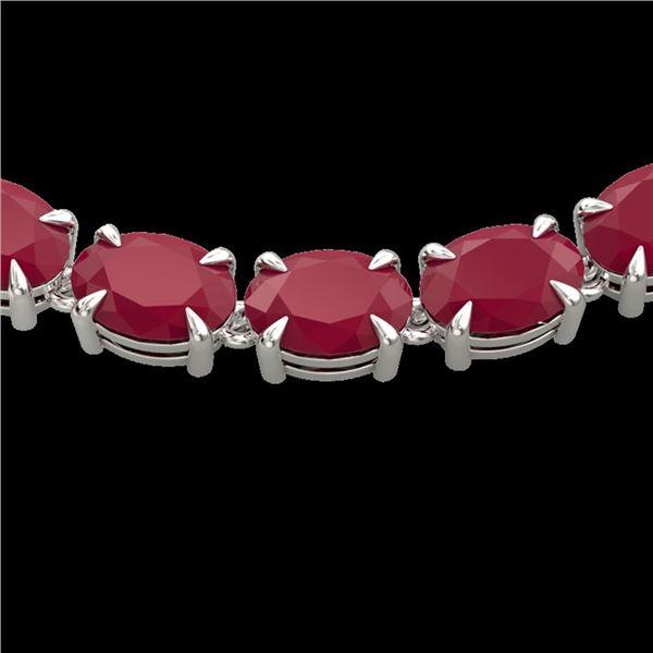 68 ctw Ruby Eternity Designer Necklace 14k White Gold - REF-327Y3X