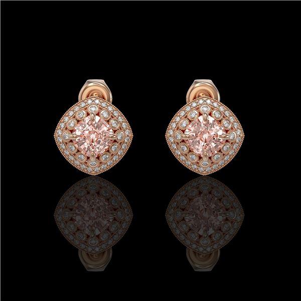 4.19 ctw Morganite & Diamond Victorian Earrings 14K Rose Gold - REF-142R8K