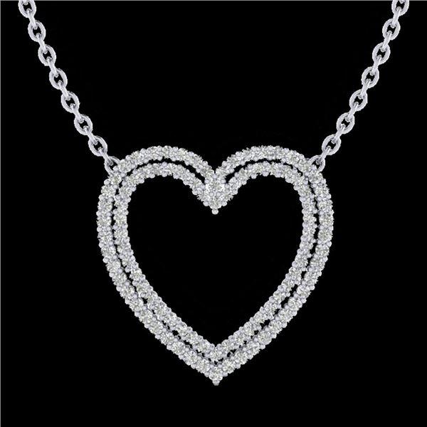 2 ctw VS/SI Diamond Heart Halo Designer Necklace 14k White Gold - REF-134A8N