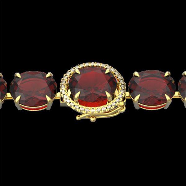 65 ctw Garnet & Micro VS/SI Diamond Bracelet 14k Yellow Gold - REF-209G3W