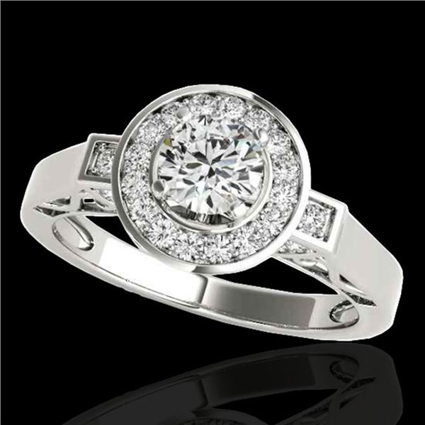 1.5 ctw Certified Diamond Solitaire Halo Ring 10k White Gold - REF-204A5N