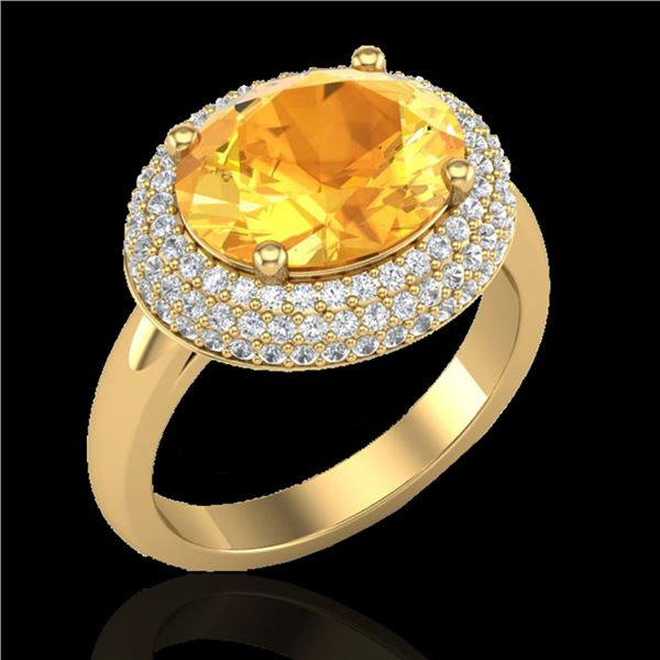 4 ctw Citrine & Micro Pave VS/SI Diamond Certified Ring 18k Yellow Gold - REF-98Y5X