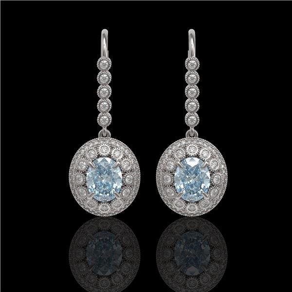 7.65 ctw Aquamarine & Diamond Victorian Earrings 14K White Gold - REF-250M5G