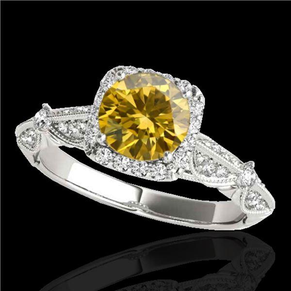 1.36 ctw Certified SI/I Fancy Intense Yellow Diamond Ring 10k White Gold - REF-204H5R