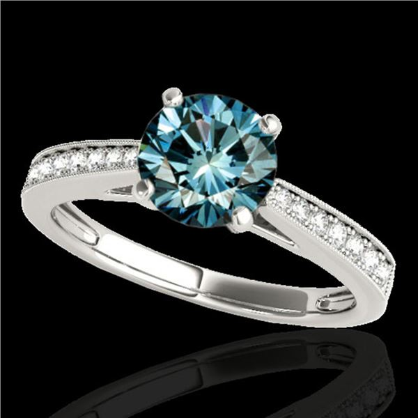 1.25 ctw SI Certified Fancy Blue Diamond Solitaire Ring 10k White Gold - REF-118R6K