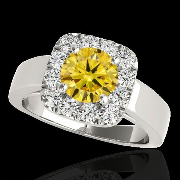 1.55 ctw Certified SI/I Fancy Intense Yellow Diamond Ring 10k White Gold - REF-190X9A
