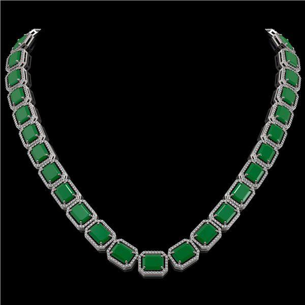 84.94 ctw Emerald & Diamond Micro Pave Halo Necklace 10k White Gold - REF-1000F5M
