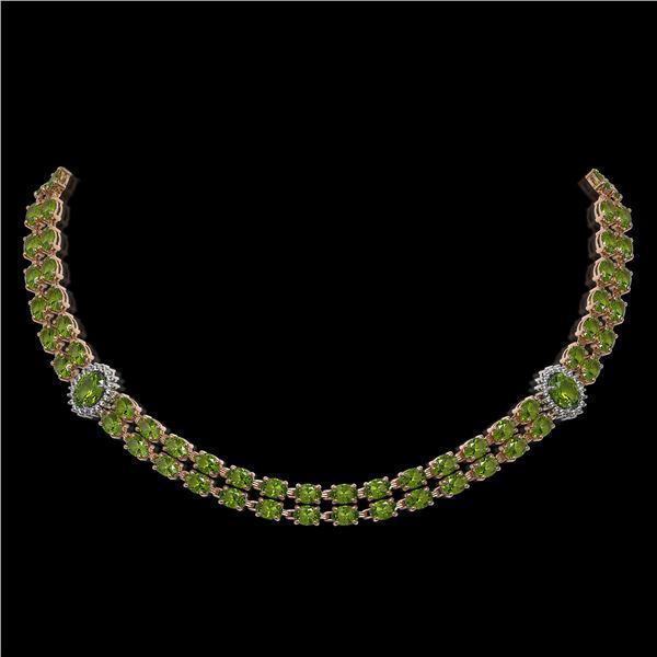37.23 ctw Tourmaline & Diamond Necklace 14K Rose Gold - REF-527F3M
