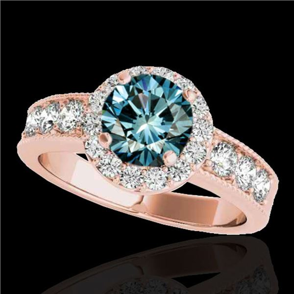 2.1 ctw SI Certified Fancy Blue Diamond Solitaire Halo Ring 10k Rose Gold - REF-170X5A
