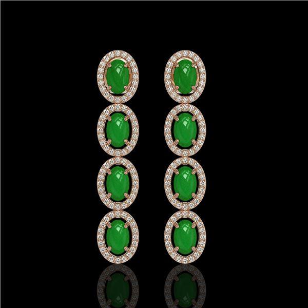 6.44 ctw Jade & Diamond Micro Pave Halo Earrings 10k Rose Gold - REF-103M6G