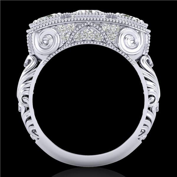 2.51 ctw VS/SI Diamond Solitaire Art Deco 3 Stone Ring 18k White Gold - REF-360R2K
