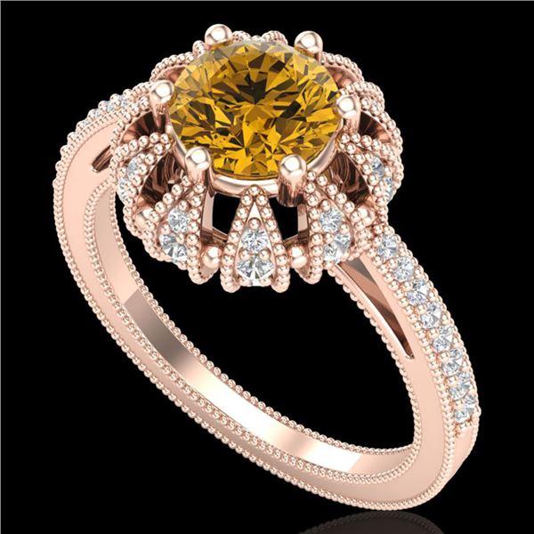 1.65 ctw Intense Fancy Yellow Diamond Art Deco Ring 18k Rose Gold - REF-230G9W