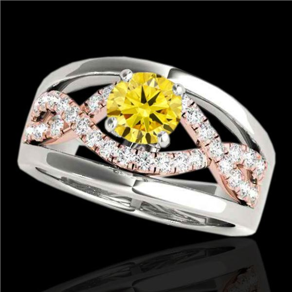 1.55 ctw Certified SI Intense Yellow Diamond Solitaire Ring 10k 2Tone Gold - REF-245N5F