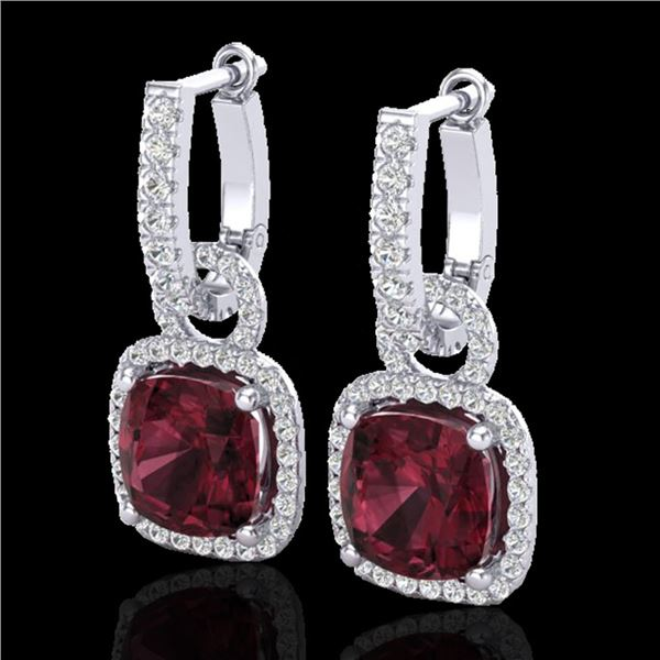 7 ctw Garnet & Micro Pave VS/SI Diamond Earrings 18k White Gold - REF-105G5W