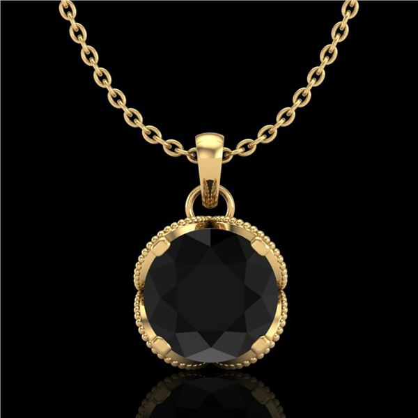 1.13 ctw Fancy Black Diamond Art Deco Stud Necklace 18k Yellow Gold - REF-94R5K
