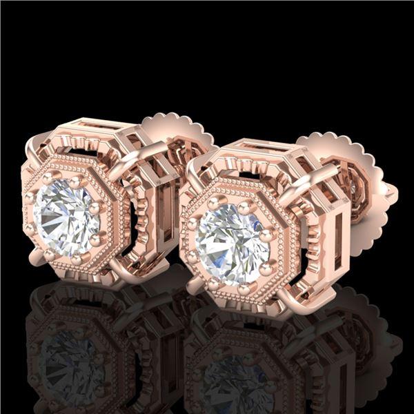 1.11 ctw VS/SI Diamond Solitaire Art Deco Stud Earrings 18k Rose Gold - REF-254R5K