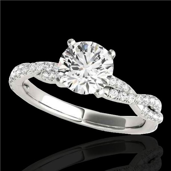 1.25 ctw Certified Diamond Solitaire Ring 10k White Gold - REF-190M9G