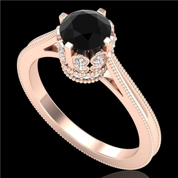 1.14 ctw Fancy Black Diamond Engagment Art Deco Ring 18k Rose Gold - REF-94H5R