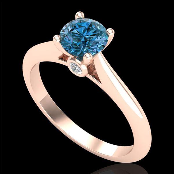 0.83 ctw Fancy Intense Blue Diamond Art Deco Ring 18k Rose Gold - REF-80M5G