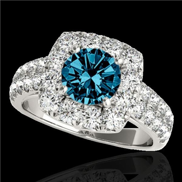 2.5 ctw SI Certified Fancy Blue Diamond Solitaire Halo Ring 10k White Gold - REF-211W4H