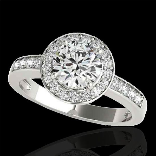 1.4 ctw Certified Diamond Solitaire Halo Ring 10k White Gold - REF-200N5F