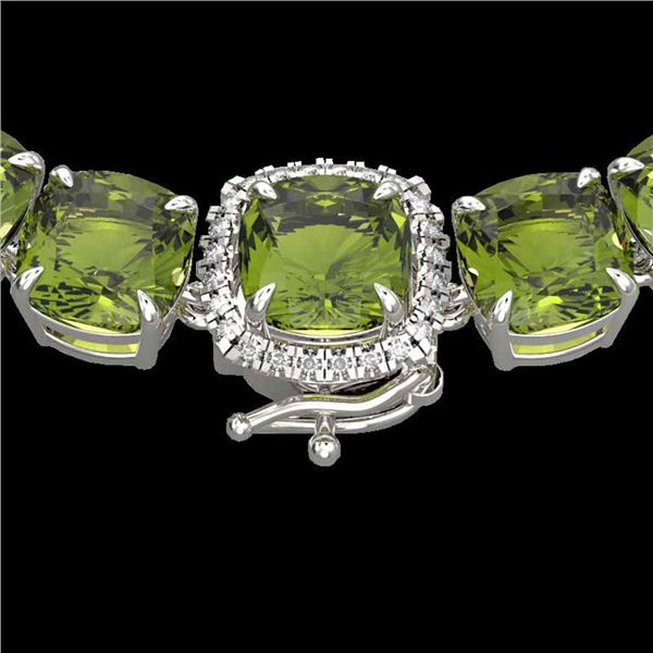 100 ctw Green Tourmaline & Diamond Micro Necklace 14k White Gold - REF-1072M8G