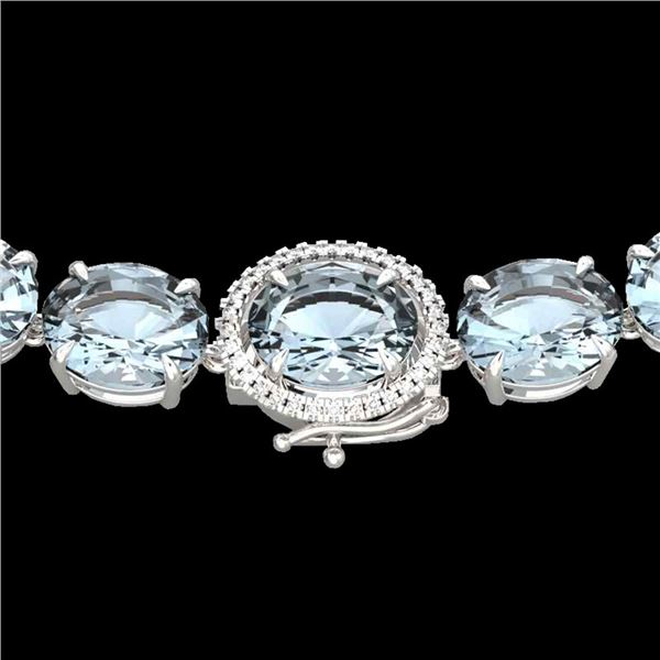 177 ctw Sky Blue Topaz & Diamond Micro Pave Necklace 14k White Gold - REF-473W3H