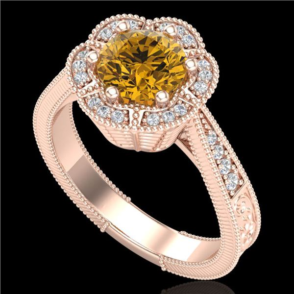 1.33 ctw Intense Fancy Yellow Diamond Art Deco Ring 18k Rose Gold - REF-227A3N
