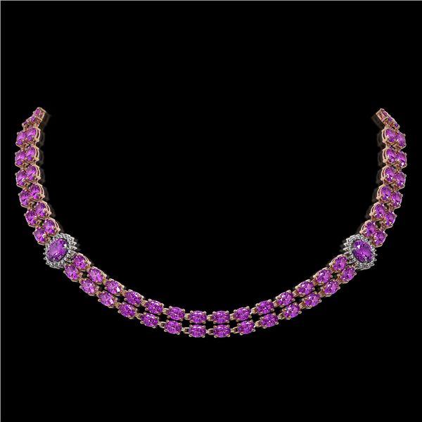 31.28 ctw Amethyst & Diamond Necklace 14K Rose Gold - REF-454M5G