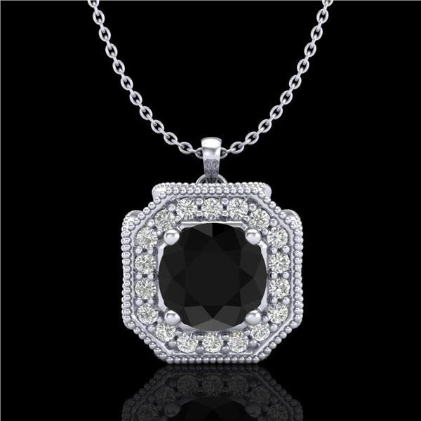 1.54 ctw Fancy Black Diamond Art Deco Stud Necklace 18k White Gold - REF-120K2Y