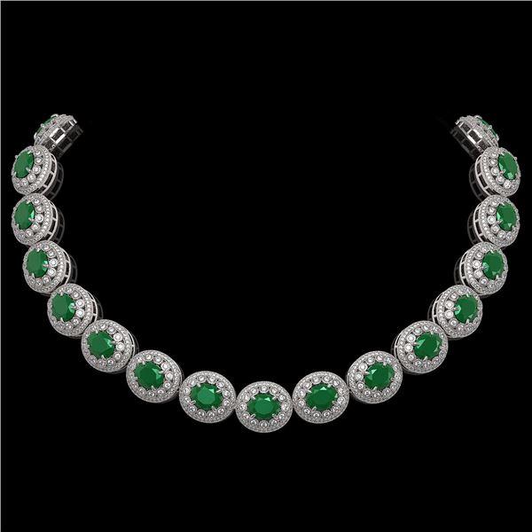 111.75 ctw Emerald & Diamond Victorian Necklace 14K White Gold - REF-3094W9H