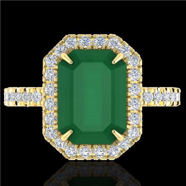 5.33 ctw Emerald & Micro Pave VS/SI Diamond Ring 18k Yellow Gold - REF-87A6N