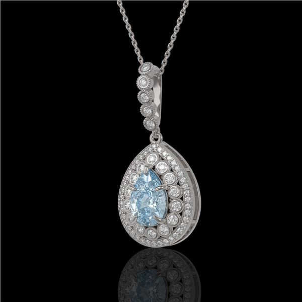 3.77 ctw Aquamarine & Diamond Victorian Necklace 14K White Gold - REF-160N2F