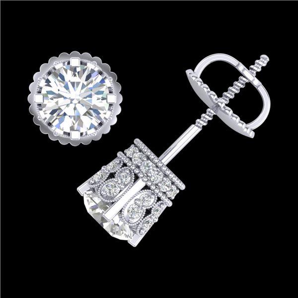 1.75 ctw VS/SI Diamond Solitaire Art Deco Stud Earrings 18k White Gold - REF-249R3K