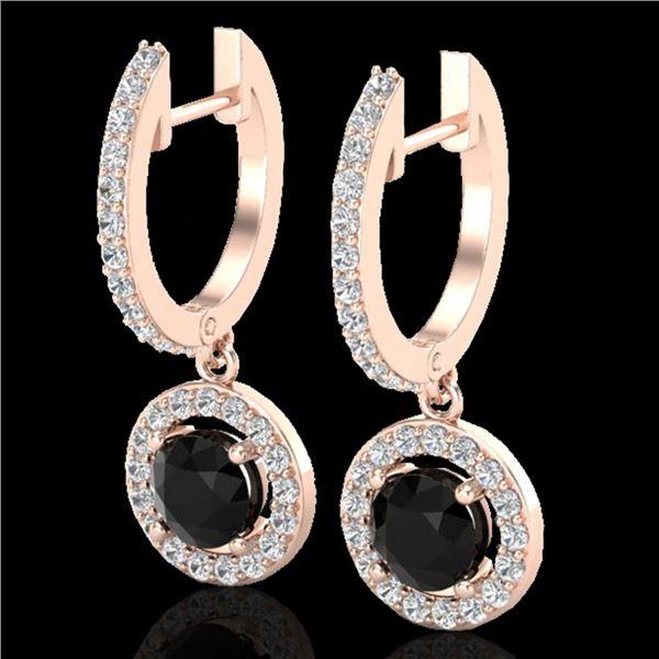 1.75 ctw Micro Pave VS/SI Diamond Certified Earrings 14k Rose Gold - REF-98M2G