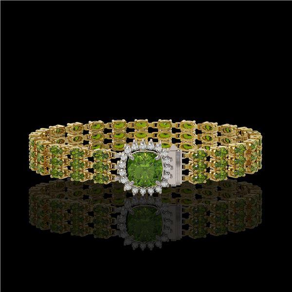 28.56 ctw Tourmaline & Diamond Bracelet 14K Yellow Gold - REF-404R8K