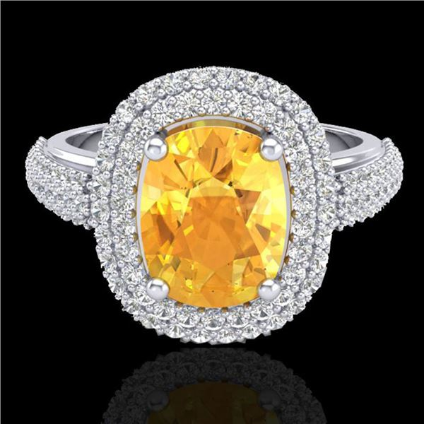 3.50 ctw Citrine & Micro Pave VS/SI Diamond Ring 14k White Gold - REF-98A2N
