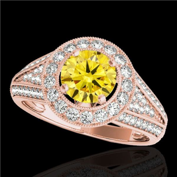 2.17 ctw Certified SI/I Fancy Intense Yellow Diamond Ring 10k Rose Gold - REF-340H9R
